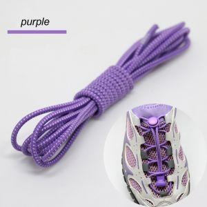 Smart Lock Elastic Shoelaces Purple White Stripes - Main Banner