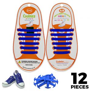 No Tie Shoelaces Silicone - Blue 12 Pieces for Kids