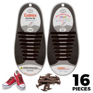 No Tie Shoelaces Silicone - Brown 16 Pieces for Adults