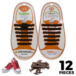 No Tie Shoelaces Silicone - Brown 12 Pieces for Kids