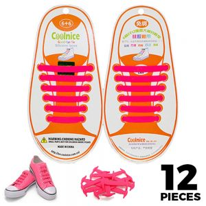 No Tie Shoelaces Silicone - Pink 12 Pieces for Kids