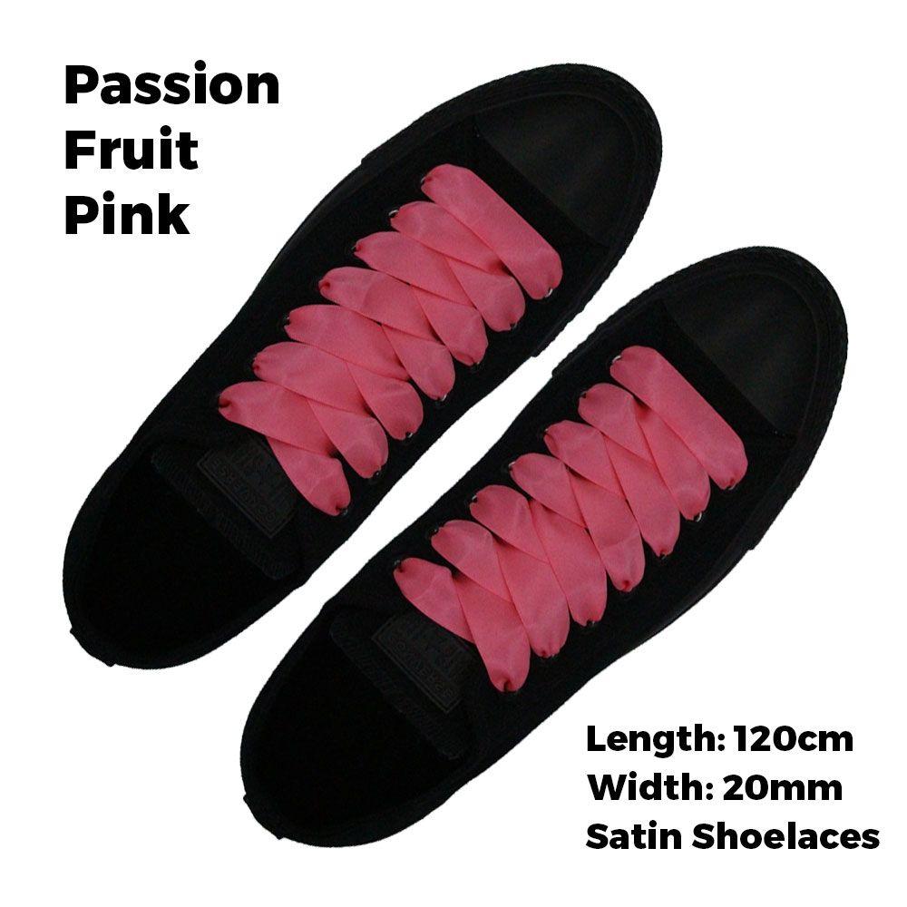 566174481e2c8 Satin Ribbon Shoelaces Flat Passion Fruit Pink - 120cm Length - 2cm Width