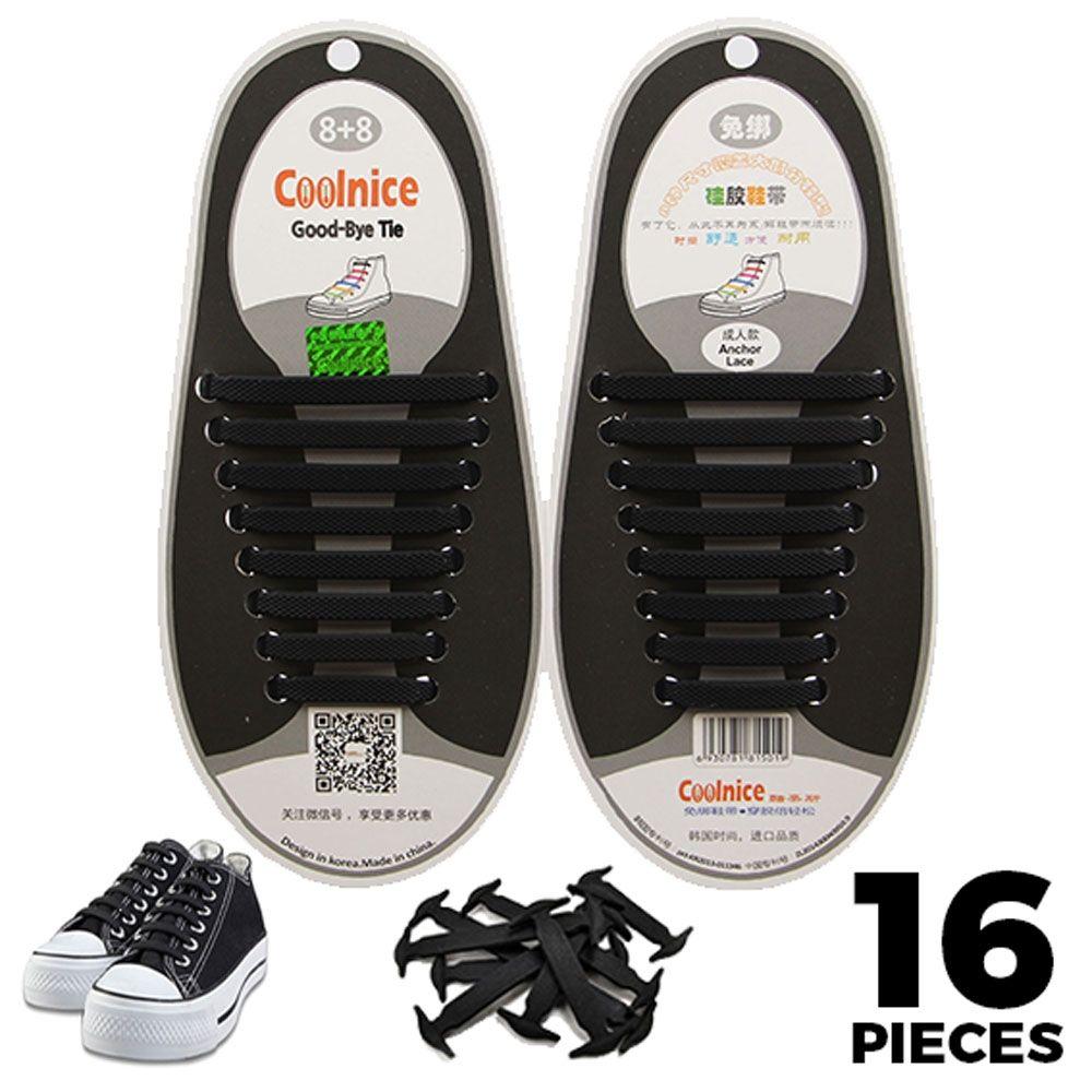 No Tie Shoelaces Silicone Black 16