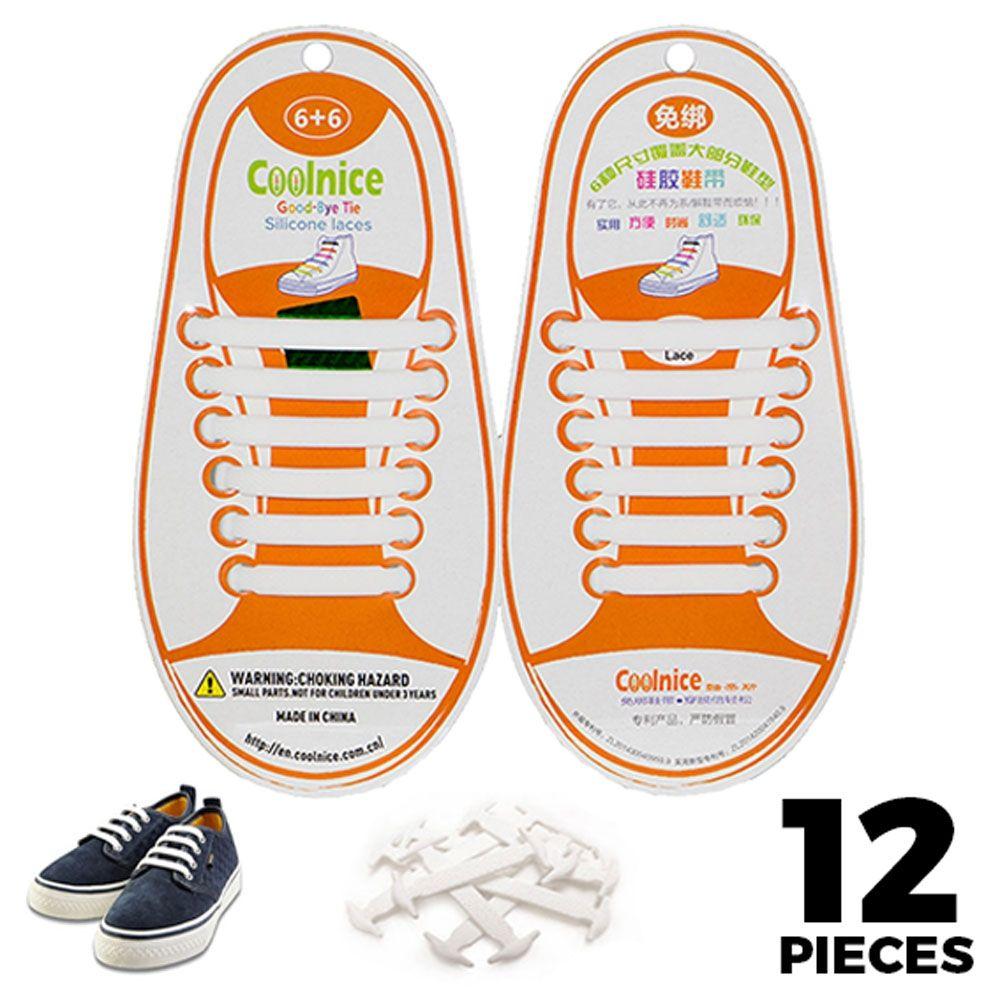No Tie Shoelaces Silicone White 12