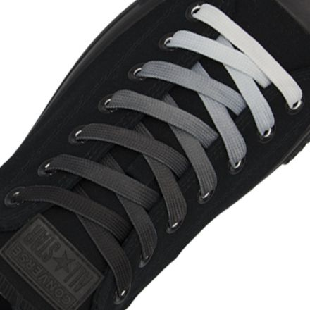 Length: 110cm | Width: 10mm | Black Faded Shoelace Flat