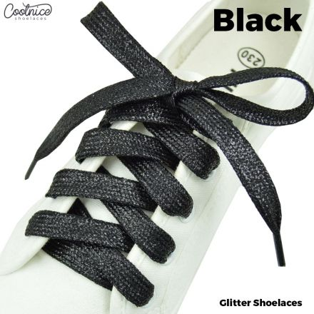 Glitter Shoelaces Flat - Black oFashion