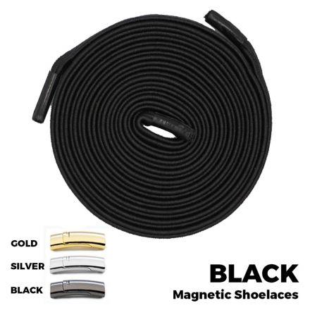 Black Magnetic Shoelace Lock Flat Elastic No Tie Laces
