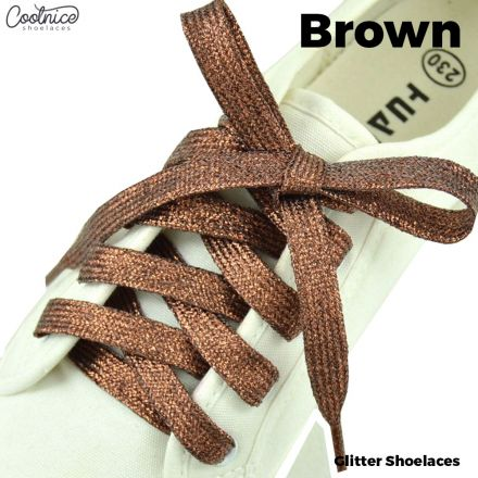 Glitter Shoelaces Flat - Brown oFashion