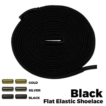 Capsule Lock Flat Elastic Shoelaces Black