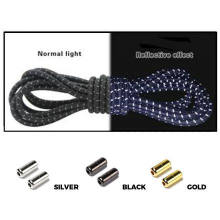 Black Grey Capsule Lock Round Reflective Elastic Shoelace