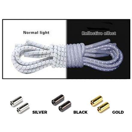 White Grey Capsule Lock Round Reflective Elastic Shoelace