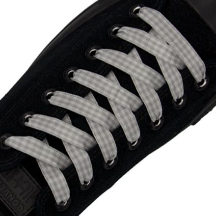 Grey Shoelace Check - 120cm Length 1cm Width Flat