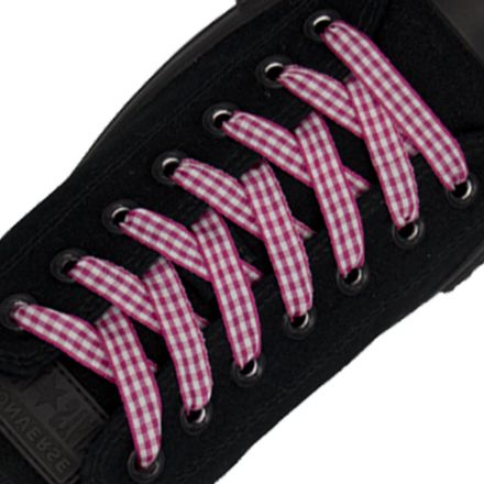 Check Shoelace - Hot Pink 120cm Length 1cm Width Flat