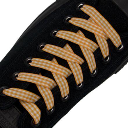 Check Shoelace - Orange 120cm Length 1cm Width Flat