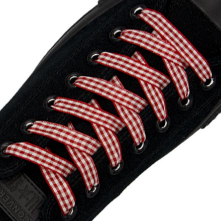 Check Shoelace - Red 120cm Length 1cm Width Flat