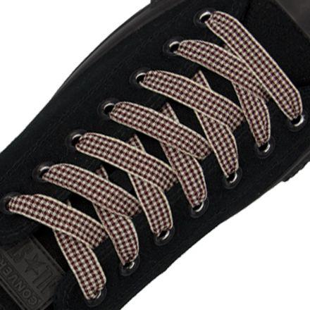 Check Shoelace - Rufous 120cm Length 1cm Width Flat