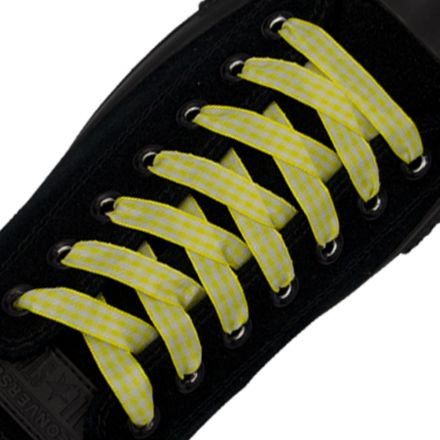 Check Shoelace - Yellow 120cm Length 1cm Width Flat