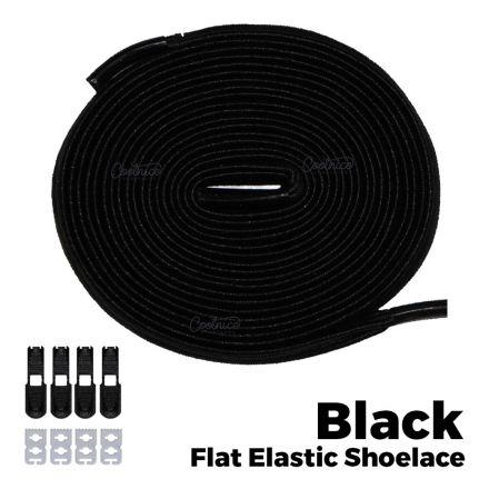 Flat Elastic No Tie Shoelaces - Black