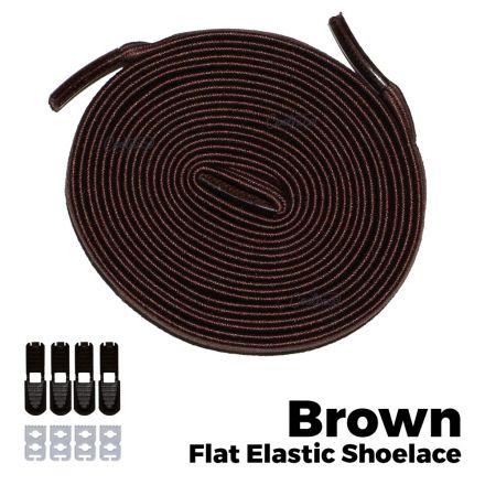 oFashion Flat Elastic No Tie Shoelaces - Brown