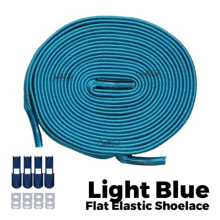 Coolnice Flat Elastic No Tie Shoelaces - Light Blue