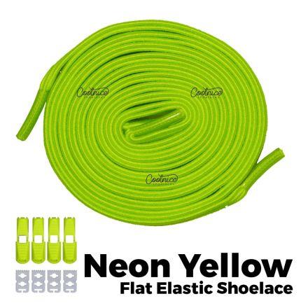 oFashion Flat Elastic No Tie Shoelaces - Neon Yellow