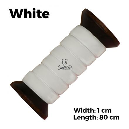 Velvet Ribbon Shoelaces - White L: 80cm W: 1cm