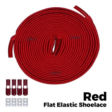 Coolnice Flat Elastic No Tie Shoelaces - Red