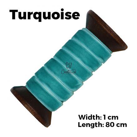Velvet Ribbon Shoelaces - Turquoise L: 80cm W: 1cm