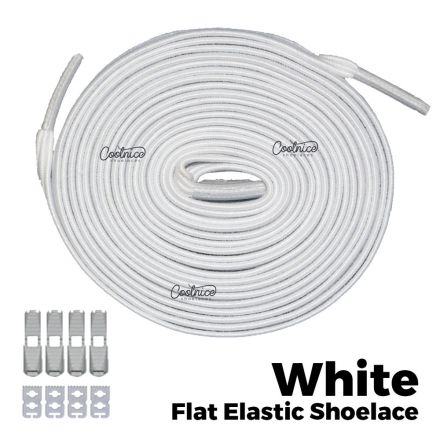 Coolnice Flat Elastic No Tie Shoelaces - White