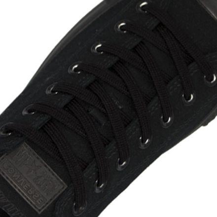 Cotton Shoelaces Flat - Black 120cm Length 7mm