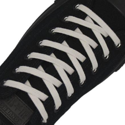 Cotton Shoelaces Flat - White 120cm Length 7mm