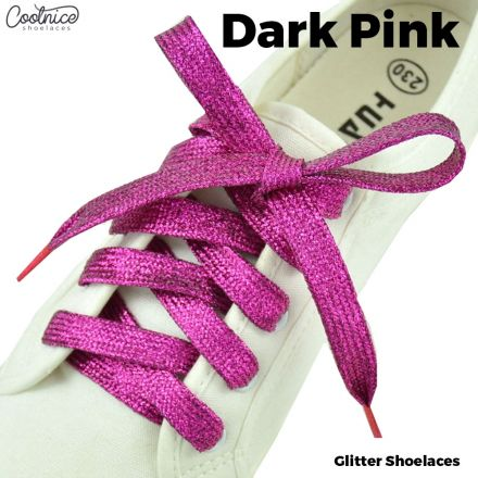 Glitter Shoelaces Flat - Dark Pink Coolnice
