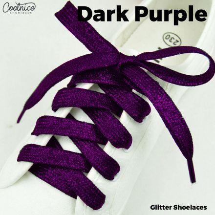 Glitter Shoelaces Flat - Dark Purple Coolnice