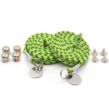 Green White Loop Flat Elastic No Tie Shoelaces