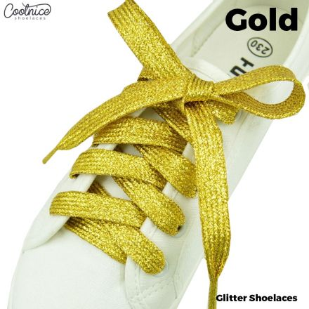 Glitter Shoelaces Flat - Gold Coolnice