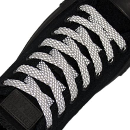 Reflective Shoelaces Flat Grey 120 cm
