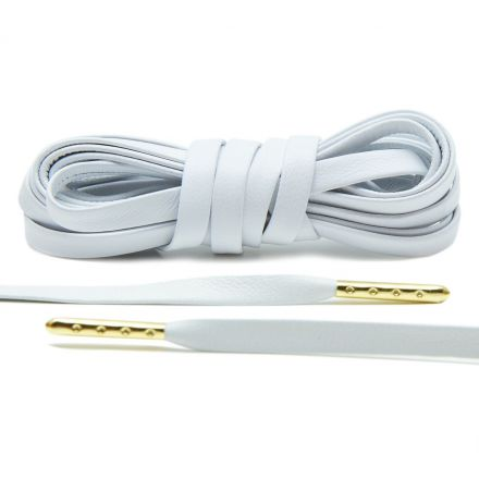 Leather Shoelaces - White with Gold Aglets 120 cm Flat