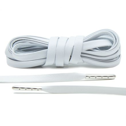 Leather Shoelaces - White with Silver Aglets 120 cm Flat