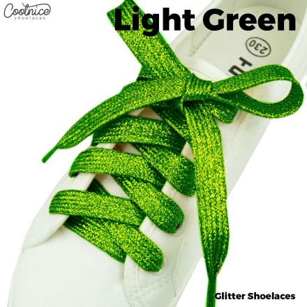 Glitter Shoelaces Flat - Light Green Coolnice