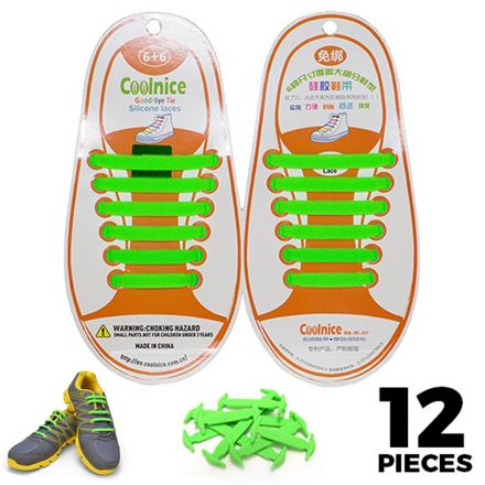 No Tie Shoelaces Silicone - Green 12 Pieces for Kids