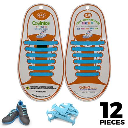 No Tie Shoelaces Silicone - Sky Blue 12 Pieces for Kids