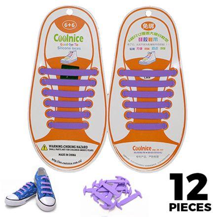 No Tie Shoelaces Silicone - Purple 12 Pieces for Kids