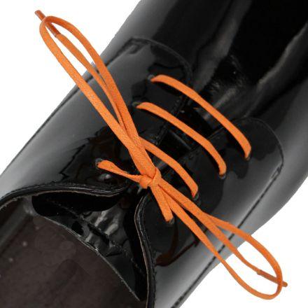 Length: 60cm | Width: 3mm | Flat Orange Wax Shoelace