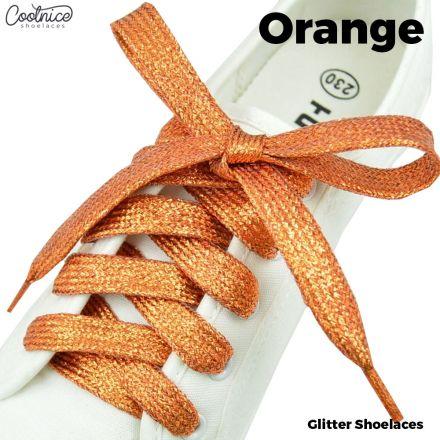 Glitter Shoelaces Flat - Orange Coolnice