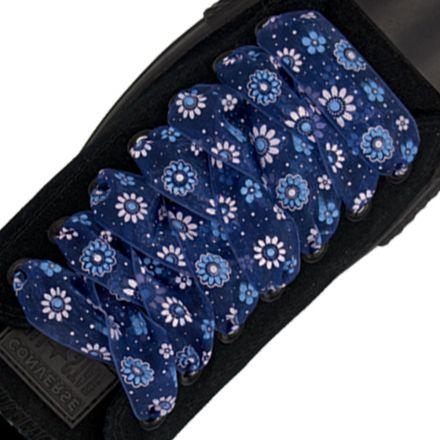 Organza Floral Fashion Shoelaces - Blue 120cm Length 2.5cm Width Flat