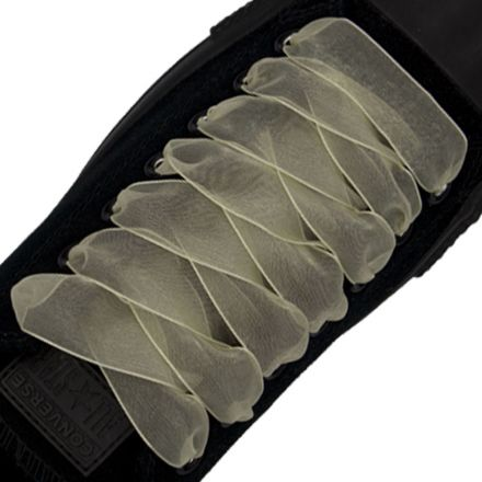 Organza Shoelaces - Antique White 120cm Length 2.5cm Width Flat