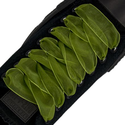Organza Shoelaces - Olive Green 120cm Length 2.5cm Width Flat