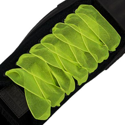Organza Shoelaces - Fluro Yellow 120cm Length 2.5cm Width Flat