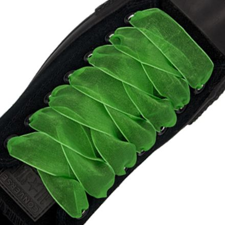 Organza Shoelaces - Green 120cm Length 2.5cm Width Flat