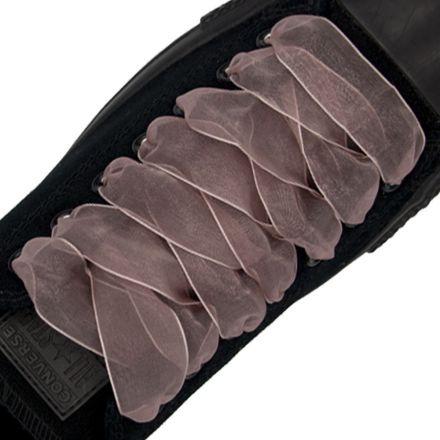 Organza Shoelaces - Rosy Brown 120cm Length 2.5cm Width Flat